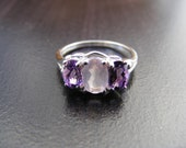 15% Off Sale S327 Made To Order... New Sterling Silver 3 Stone Ring with Natural Amethyst and Rose Quartz Gemstones