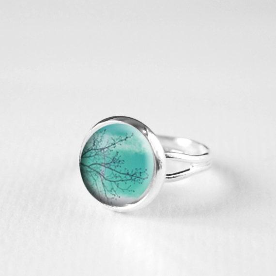 teal ring tree ring nature jewelry statement ring by