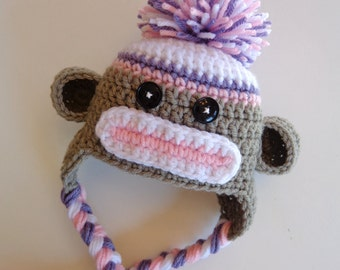 Ready to Ship- Newborn Girl Sock Monkey Hat- Pink, Purple, White, and Gray- Photo prop