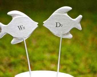 "Silver Fish Cake Topper | Beach Wedding | Coastal Wedding | We Do Wedding Cake Topper | 4"" | Free Shipping"