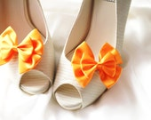 Orange  Shoe Clips - Bows Clips Bridal Wedding Shoes Clips Engagement Party Bride Bridesmaid