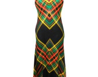 vintage 1970s plaid maxi dress / Emanon / acrylic / red yellow green / 70's dress / bold print dress / women's vintage dress / size medium