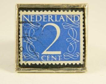 Handmade Vintage Postage Stamp Ring Art Handmade Soldered Glass Vintage Original Netherlands 1946 2 cent stamp