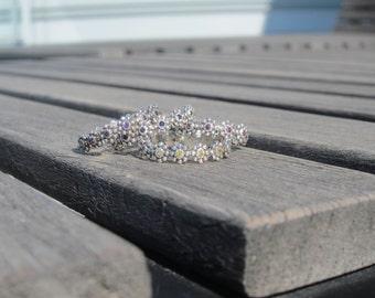 Eternity Ring - Flower Child Sparkle - sterling flower band with set gemstones