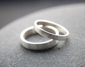 Recycled Silver Wedding Ring Set, 4mm Men's Wedding Band & 3mm Women's Wedding Ring, Argentium Silver, Brushed Finish, Made To Order