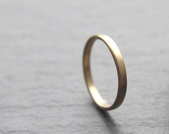 2mm dainty wedding ring in recycled 9ct yellow gold, flat profile, brushed finish - made to order