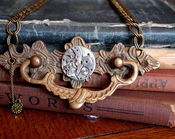 Steampunk Jewelry Steampunk Necklace Door Knocker Necklace Vintage Watch Movement Necklace Statement Jewelry Steampunk Watch OOAK Jewelry