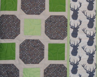 SALE Deer Baby Boy Blanket, Homemade Quilt, Antlers Brown Gray Green Nature Handmade Modern Crib Cot Bedding, Free Shipping, Ready to Ship