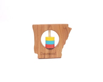 Arkansas State Rattle™ - Modern Wooden Baby Toy - Organic and Natural