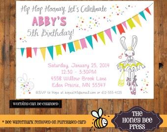 Bunny Rabbit Birthday invitation - 1st, 2nd, 3rd, 4th, 5th, 6th, 7th, 8th, 9th, 10th Birthday invitation - Item 0085