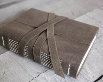 Handmade Leather Journal with Leather Strap Closure, Earth Brown