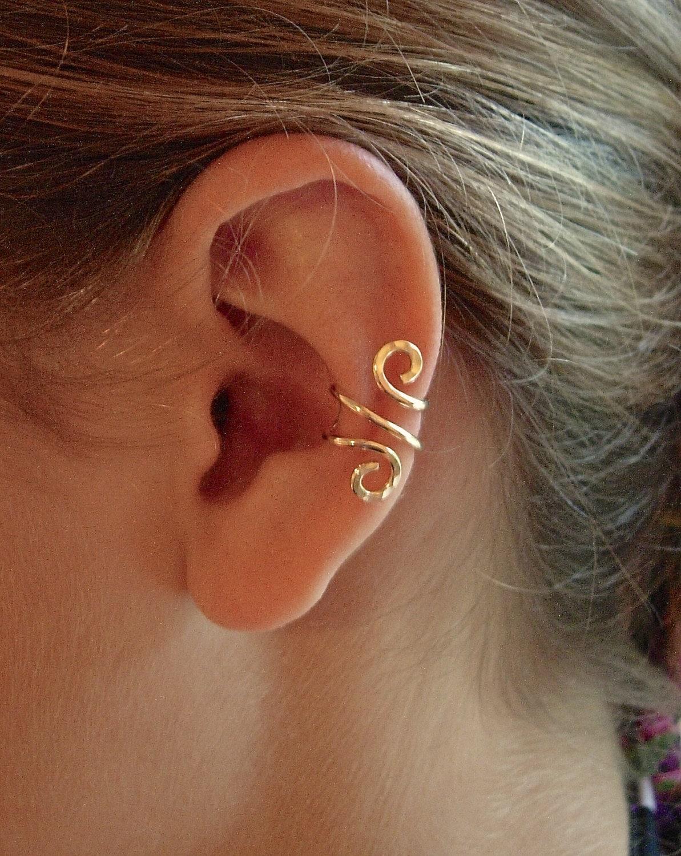 14k gold ear cuff single or sterling silver ear cuff hand. Black Bedroom Furniture Sets. Home Design Ideas