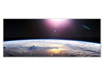 Acrylic Outer Space Decor 'Good Morning Earth' Modern Planet Wall Art - HD Reverse-Print Hubble World Photo - Glossy Plexiglas Artwork