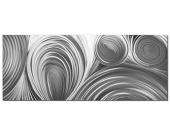 Circles Art 'Conduction Composition' - Contemporary Artwork - Single-Panel Pure Metal Wall Art Giclee - Monochrome Modern Silver Decor
