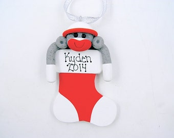 Personalize Sock Monkey Christmas Ornament Polymer Clay
