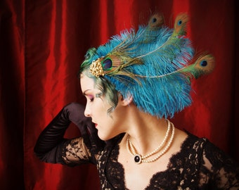 Mucha inspired feather headdress in turquoise peacock and golf leaf ~ Bollywood ~ Showgirl ~ Burlesque