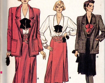 "1980s Women's Loose-Fitting Jacket, Skirt & Blouse Pattern - Size 10, Bust 32 1/2"" - Vogue 9087 uncut"