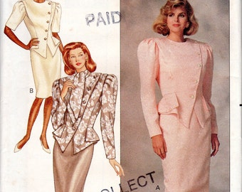 "1980s Women's Broad Shouldered Dress Pattern - Size 10, Bust 32 1/2"" - Butterick 6930 uncut"