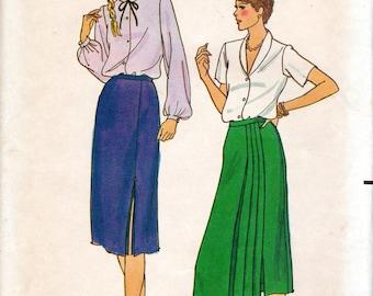 """1980s Women's Skirt Pattern - Size 8, Waist 24"""", Hip 33 1/2"""" - Butterick 6795 uncut"""
