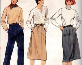 "1980s Women's Pants and Skirt Pattern - Size 8, Waist 24"" - Vogue 7805"