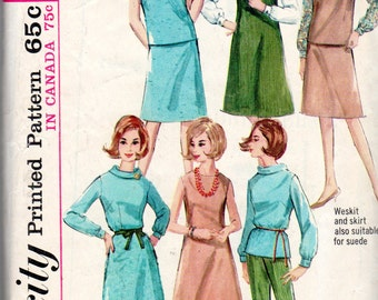"1960's Women's Skirt, Blouse, Pants, Dress, Jumper and Weskit or Vest Pattern - Size 12, Bust 32"" - Simplicity 5567"