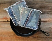 Blue Jeans Potholders - Bleached Pine Denim Hot Pads - The Best Potholders Ever