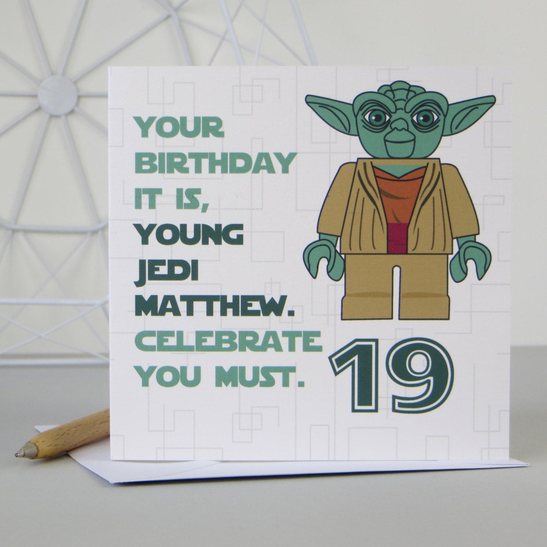Star Wars Yoda Birthday Card Any Age By Designedbywink On Etsy