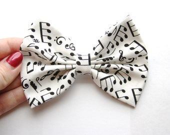 Brandy Hair Bow - White & Black Music Notes Hair Bow with Clip