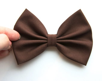 Rachel Hair Bow - Brown Solid Color Hair Bow with Clip