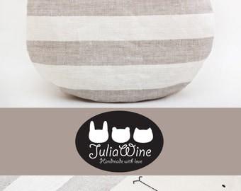 Striped Round Pillow Cute Cushion Bear pillows Gray nursery decor Housewarming Gifts Bedroom Décor Grandma Gift