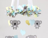 Koala Nursery Mobile Decor in Baby Blue, Yellow, Gray & White- Baby Mobile, Crib Mobile, Baby Shower Gift