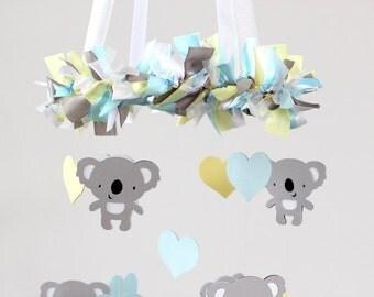 Koala Nursery Mobile Decor in Baby Blue, Yellow, Gray & White- Baby Mobile, Baby Shower Gift