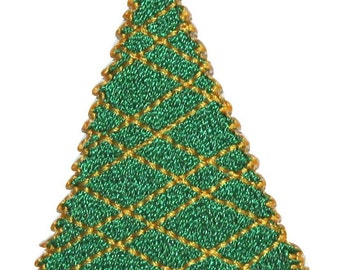 ID #8165A Christmas Tree Holiday Decoration Embroidered Iron On Applique Patch