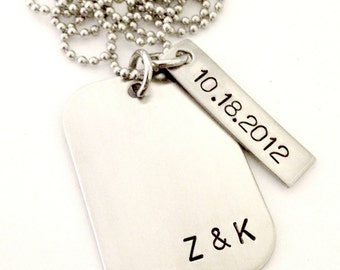 Personalized Dog Tag Necklace - Custom Hand Stamped Jewelry for Him - Couples Gift, Wedding Necklace for Him, Anniversary Groomsmen Gift