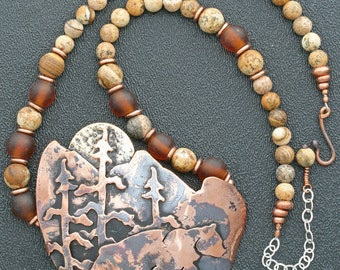 Forest House Limited Edition Statement Necklace - Recycled Copper, Picture Jasper and Recycled Amber Glass Beads