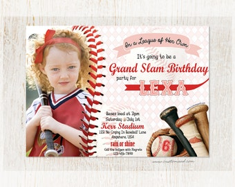 League of Her Own Invitation, Girls Baseball or Softball Invite, Digital Birthday Card, Sports Party Invitations, Personalized Printable DIY