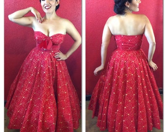 1950s Red Dress Pinup Small Satin & Gold Embroidery Strapless Holiday Small