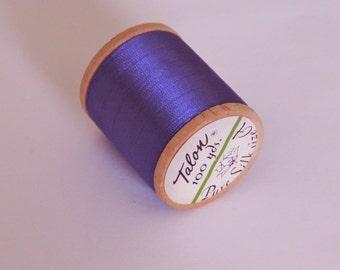 Vintage Talon  Pure Silk Hand Sewing Embroidery Thread 100 Yd. Wooden spool Shade 260 Medium Purple