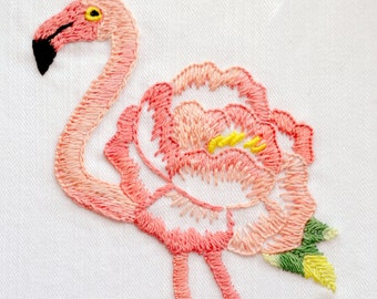 Modern hand embroidery patterns, flamingo embroidery, floral embroidery, flower embroidery - Floralmingo