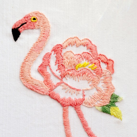 Flamingo embroidery pattern art tropical