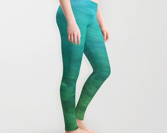 Aquamarine, leggings, wearable art, abstract, sea, ripples, water, summer, beach, Aegean, ocean, turquoise, teal, green, photography, Greece
