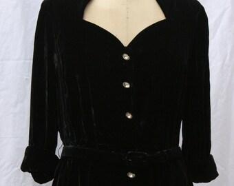 Black Velvet Dress with Rhinestone Buttons, David Styne, vintage 1940s, small-medium