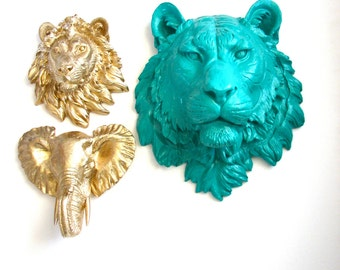 Set of 3 Mix and Match Safari Animals:  1 Large Tiger OR Lion, and 2 small animal heads, choose from sm. elephant, lion, or zebra