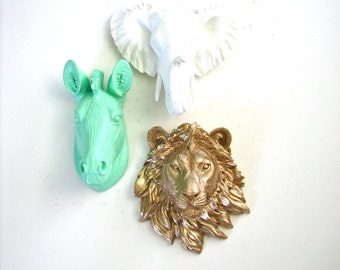 Safari SET of 3 any color or color combo-  1 small zebra, 1 small lion, & 1 small elephant Faux Taxidermy Animal Heads wall hanging decor