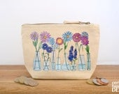 Flowers Canvas Zip Purse, Makeup Bag, Coin Purse, Small Accessory Pouch