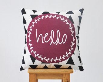 "Geometric Decorative Pillow, Modern Nursery Pillow, Kids Cushion Cover, Teen Throw Pillow, Marsala 16"" x 16"""