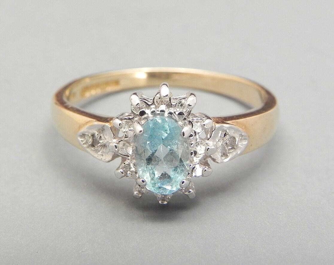 vintage aquamarine and ring 9ct gold 0 4ct blue