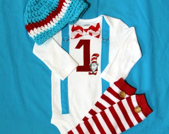 Dr. Seuss Baby Boy Birthday Bow Tie and Suspender Bodysuit with Hat and Leg Warmers Baby Boy First Birthday Little Man Tie Outfit, Dr. Seuss
