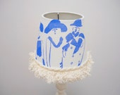 At the Races, Small Table Lampshade Handmade, Blue, Small Coolie Table style lampshade, bedroom lampshade, drum lampshade Small