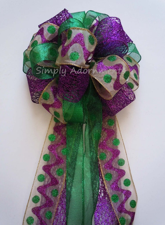 Mardi Gras Wreath Bow Mardi Christmas Tree Topper Bow Yellow Green Purple Bow Winter Mardi Gras Wreath Swag Bow